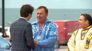 Prime Minister Justin Trudeau arrives at Grey Eagle Entertainment Centre