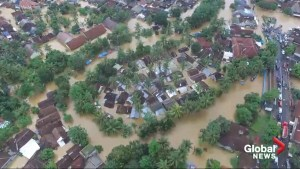 Drone footage shows devastating impact of tsunami in Indonesia