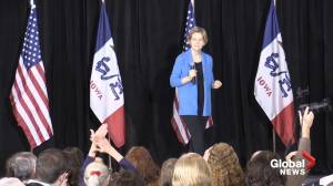 On first day of campaign, Elizabeth Warren says Trump might not even be a free person by 2020