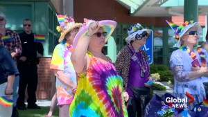 Dozens flock to Taber for Pride after last year's rainbow flag was burned
