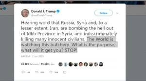 Kremlin rejects warning from Trump on Syria airstrikes