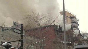 Five-alarm fire in downtown Montreal