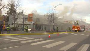 Second storey building fire on Pandosy Street in Kelowna