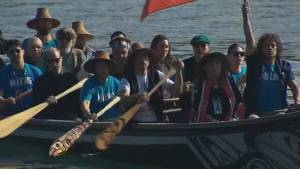 Prince William and Kate arrive by canoe in Haida Gwaii