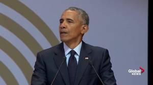 Obama says public must 'resist cynicism' in global politics