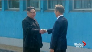 North and South Korean leaders shake hands at historic Korean summit