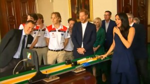 Meghan Markle gets a surprise as she launches mini Formula 1 cars at high speed in Melbourne