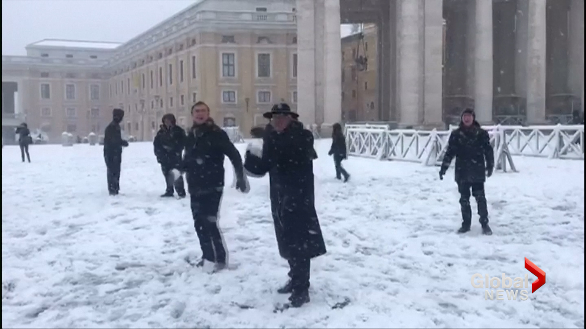 Snowball fight at The Vatican!