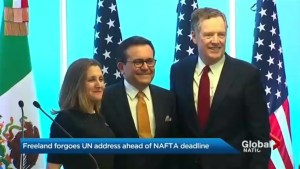 Freeland forgoes speech at U.N. as NAFTA deadline approaches