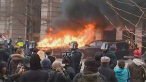 Trump Inauguration: Protesters set limo on fire