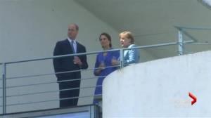 Duke and Duchess of Cambridge greet Angela Merkel in Germany