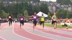 Andre De Grasse runs the 100- metre in Coquitlam