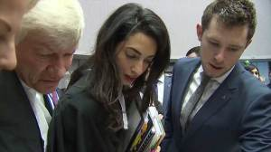 Amal Clooney appears at high-profile human rights court