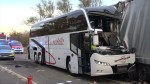 Emergency responders search through wreckage of bus crash that injured 35