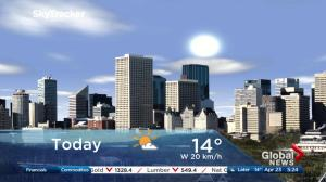 Edmonton early morning weather forecast: Monday, April 23, 2018