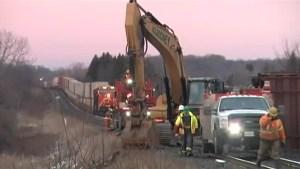 Crews work to clean-up freight train derailment