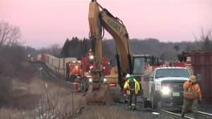 Crews work to clean-up freight train derailment (02:24)