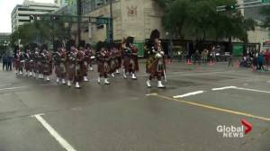 Edmonton Police Service pipes and drums lead the K-Days Parade