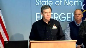 North Carolina Gov. Roy Cooper strongly urges residents to stay off the roads
