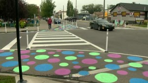 Calgary tests out 'traffic-calming' polka dots