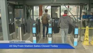 Remaining SkyTrain fare gates close