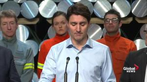 'We had your backs last week': Trudeau visits aluminum factory in Quebec following tariff battle
