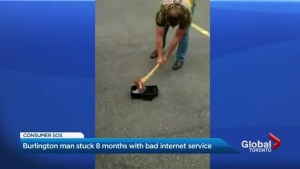 Bell customer in Burlington destroys modem in front of store