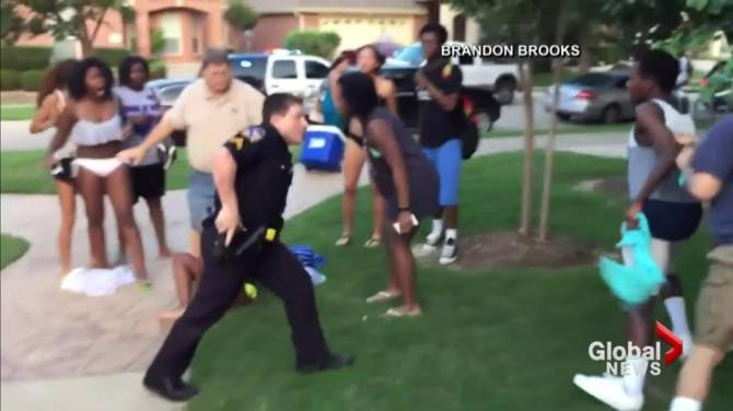 Texas officer video recorded in racially tinged police pool incident resigns for Public swimming pools in mckinney tx