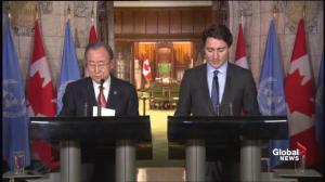 Justin Trudeau on what topics he discussed with UN Secretary General Ban Ki-moon