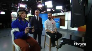 James Hinchcliffe takes on Carolyn at the virtual race track