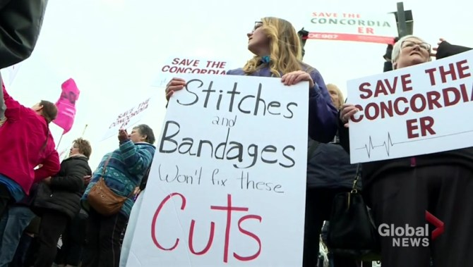 Protesters rally against the closure of Concordia's ER
