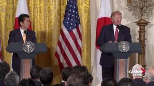 Donald Trump praises 'crucial' alliance with Japan during Abe visit