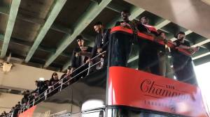 Raptors victory parade: Fans celebrate team as they roll by