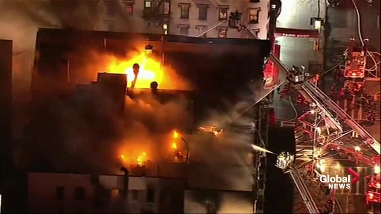 Huge fire rages in Manhattan