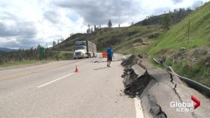 Southern B.C. stretch of highway buckles as hillside slumps
