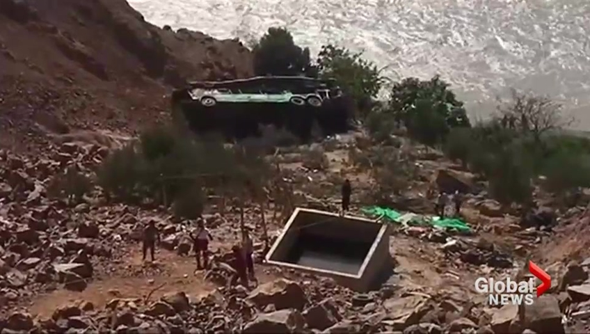 At least 25 dead as bus tumbles down cliff in southern Peru