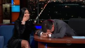Nicki Minaj's explicit rap makes Stephen Colbert blush