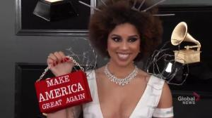 Singer Joy Villa wears barbed wire 'border wall' dress at 2019 Grammy Awards