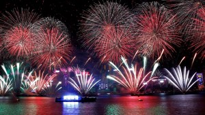 Hong Kong's Victoria Harbour lit up by spectacular NYE fireworks display