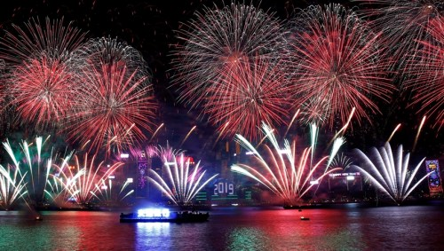 Hong Kong S Victoria Harbour Lit Up By Spectacular Nye Fireworks