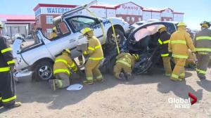 Volunteer Saskatchewan firefighters hone skills with hands on training