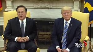 Trump refuses to say if he's under investigation during meeting with Panama president