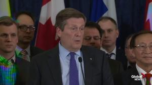 Mayor Tory offers condolences to Ford family on behalf of Torontonians