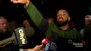 Drake gives rousing speech about Toronto after Raptors win Game 5