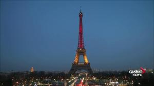 Eiffel Tower lights up in Belgium colours after bombing attacks