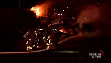 2 dead, 3 injured in fiery multi-vehicle crash on Hwy 401 in