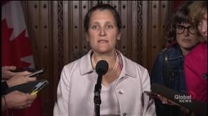 Freeland says 'no deal' talk on NAFTA is not rhetoric