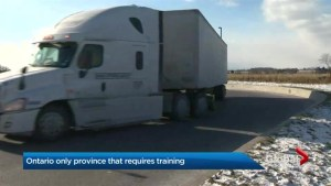 Truck training required only in Ontario