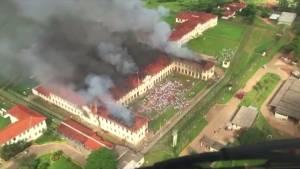 Hundreds of inmates flee after Brazil prison set on fire