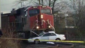 Fatal collision between train and car in Langley